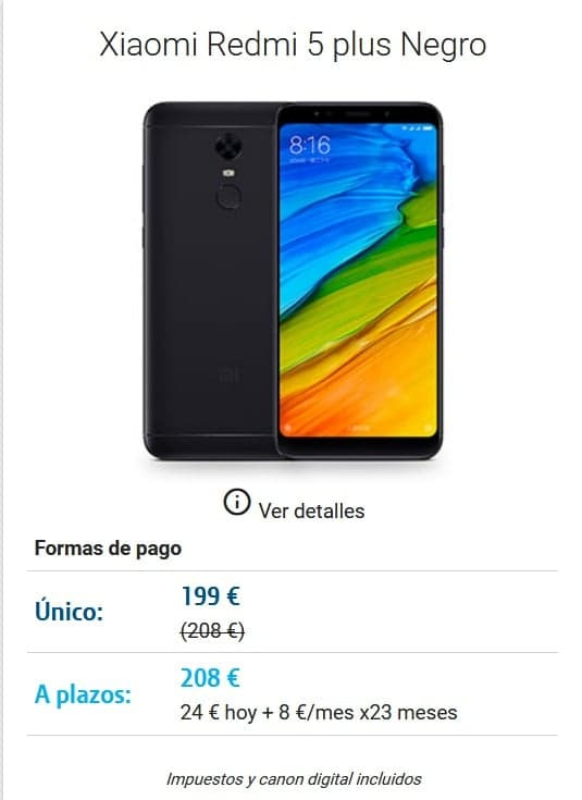 DIGI mobil Lorca Movil Xiaomi Redmi 5 plus Negro